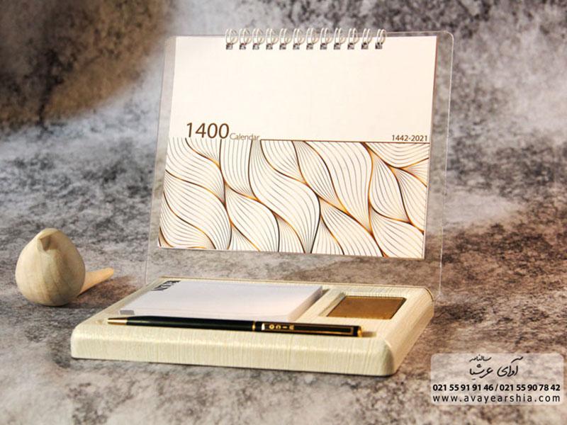 تقویم رومیزی یادداشتی 1400 مدل لاکچری (خشتی)