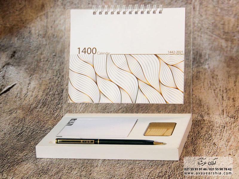 تقویم رومیزی ایستاده 1400 مدل مادرید (خشتی)